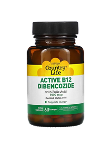 Country Life, Gluten Free, Active B-12 Dibencozide, 3000 mcg, 60 Lozenges
